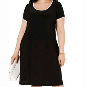 🆕️👗MSK womans scoop neck piped Tshirt dress